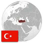 Geographic location and the flag of the Republic of Turkey